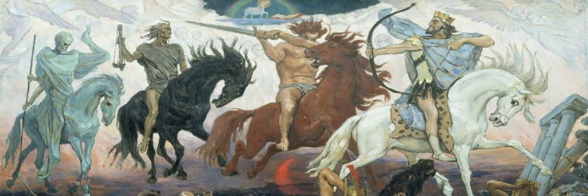 The Four Horsemen of the Apocalypse (L to R): Death, Famine, War and Conquest. by Victor Mikhailovich Vasnetsox (1848-1926) Credit: Wikipedia/Creative Commons/{{PD-US}}