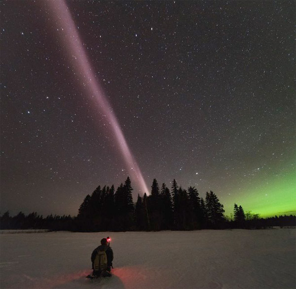 A STEVE appearing over British Columbia Canada on April 10, 2018. Credit: Ryan Sault/Alberta Aurora Chasers