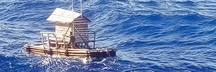 Photo of Aldi Adilang's boat at moment of rescue near the Island of Guam. Released by the Indonesian Consulate General in Osaka/AP