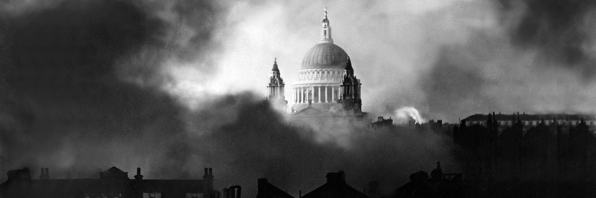 St Paul's Cathedral, London, England during the Great Fire attack during World War II, December 29, 1941 Credit: National Archives/New Times Paris Bureau/Public Domain