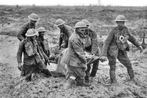 Stretcher bearers at the Battle of Passchendaele, August, 1917, World War I Credit: Wikipedia