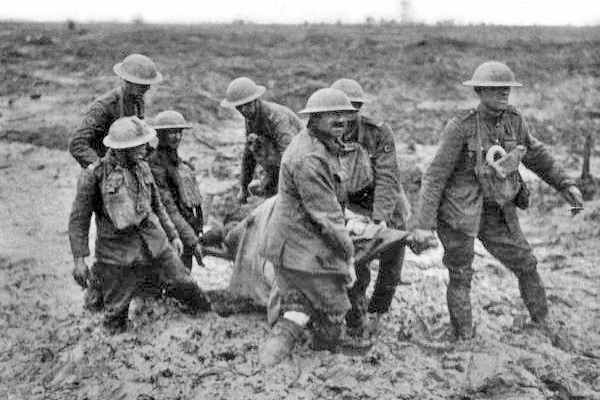 Stretcher bearers at the Battle of Passchendaele, August, 1917, World War I Credit: Wikipedia