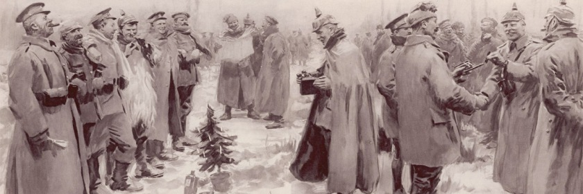 Christmas truce celebration between German and British soldiers on December 24, 1914. Illustrated by A. C. Michael and published in The Illustrated London News on January 9, 2015/Wikipedia