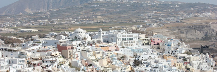 Fira the largest town on the Island of Santorini in the Mediterranean Se. The Island, formerly called Thera, was site of the largest volcanic explosion in history. Credit: Edal Anton Lefterov/Wickipedia/Creative Commons