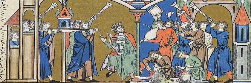 An image from the Morgan Bible (1240AD) of King David bringing the Ark of the Covenant where he set up the Tabernacle of David. Credit: Wikipedia