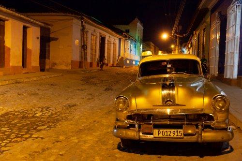 Taxi located on a dark street in Trinidad, Cuba